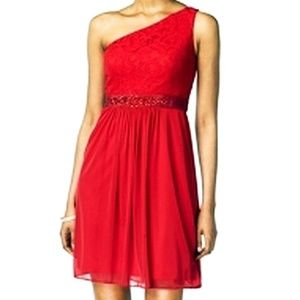 Adrianna Papell NEW One Shoulder Red Lace Dress 14